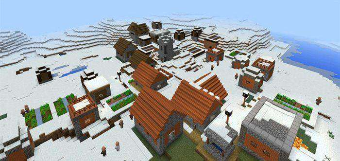 Savannah Village in a Snow Biome Seed for Minecraft PE
